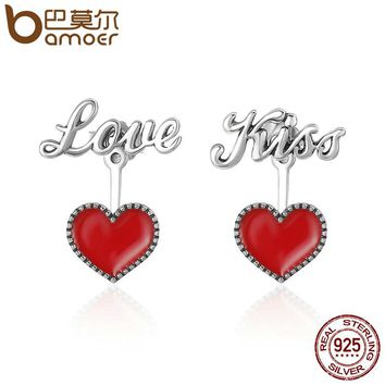 Romantic 925 Sterling Silver Exquisite Red Heart Love & Kiss Letter Stud Earrings Women Fine Jewelry Brincos Gift SCE157