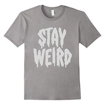 LMFXT3 Stay Weird' Creepy Cute Pastel Goth Graphic T-Shirt 100% Cotton T-Shirts for Man Top Tee Men T Shirt Free Shipping Plus Size