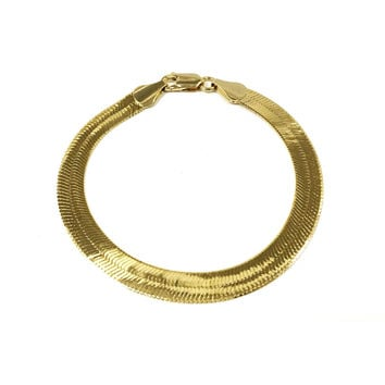 14k Gold Plated Thick Herringbone Bracelet