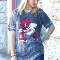 "Vintage Arkansas Hog Leaning on ""A"" Acid Wash Tee {Charcoal}"