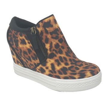 Not Rated Timmibelle Leopard Wedge Sneakers
