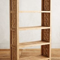 Handcarved Fretwork Wide Bookcase by Anthropologie in Natural Size: One Size Furniture