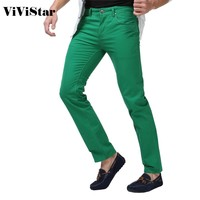 Mens Jeans Solid Candy Color New Fashion Casual Brand Jeans