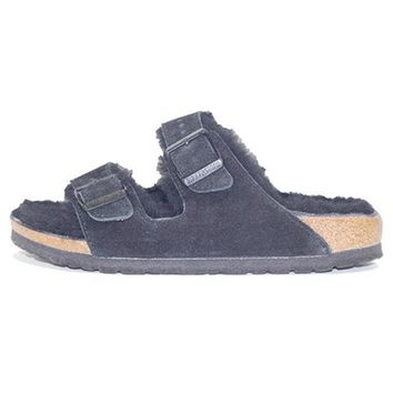PEAP Birkenstock for Women: Arizona Fur Suede Black Sandal