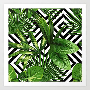 Exotic Jungle Art Print, Tropical Palm Tree Art Print, Summer Wall Art, Exotic Plants Art Print, Green Jungle Art Print, Geometric Art Print
