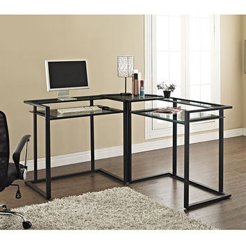 C-frame Glass & Metal L-Shaped Computer Desk-Clear/Black by Walker Edison