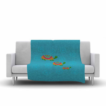 "Cristina bianco Design ""The Turtles"" Teal Orange Fleece Throw Blanket"