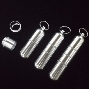 Outdoor Aluminum Waterproof Pill Shaped Bottle Sealed Bottle Holder Container Keychain Medicine Storage Boxes