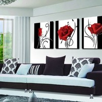 Spirit Up Art Abstract Art In Black White Red Decorative Wall Decorative Canvas Print Set Of 3 (no frame)