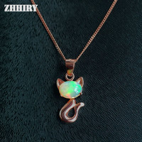 Natural Opal Pendant Necklace Fire Gem Stone 925 Sterling Silver Women Jewelry Lots Color
