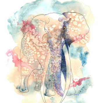 Elephant painting Original watercolor Print 8x10 elephant painting baby boy nursery art room decor animal painting safari theme wall hanging