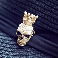Fashion Rhinestone Skull Costume Brooch at Online Cheap Fashion Jewelry Store Gofavor