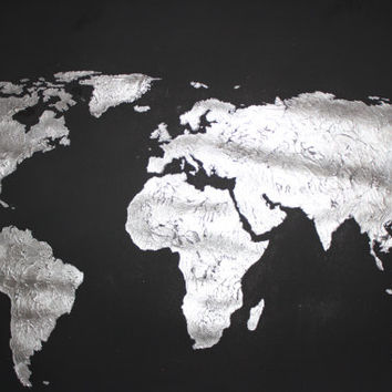 Hand painted map of the world silver on black by 10kiaatstreet