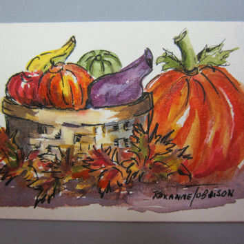 Pumpkin Harvest ACEO original watercolor 434 pen & Ink OOAK Fall, Autumn Art Card