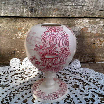 "Globe Vase Jardiniere Bulb Planter, ""Corinth Maling"", English, Red Transferware, New Castles, Ironstone, English, Antique"