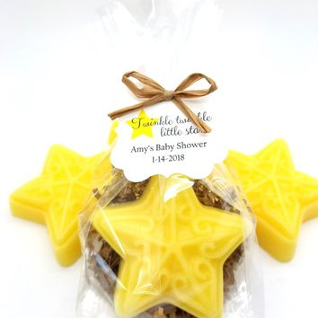 Star Soap Baby Shower Favors with Custom Tags for Rustic Twinkle Twinkle Little Star Theme Set of 12