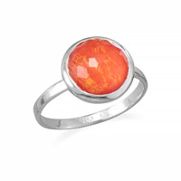 Large Round Freeform Faceted Quartz over Coral Stackable Ring