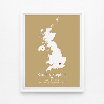 Wedding Gift Personalized Anniversary or Wedding Custom Location United Kingdom Any State or Country 8x10 Map Print