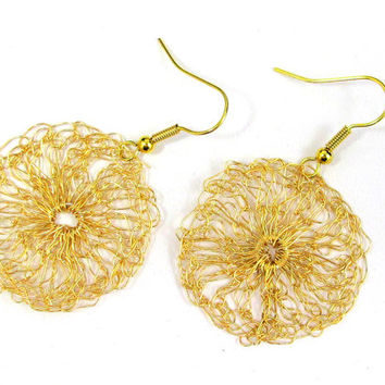 Earrings - Circle of Crocheted Wire in Gold (small)