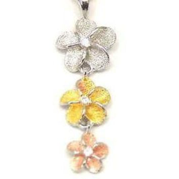 SILVER TRICOLOR 3 HAWAIIAN PLUMERIA DANGLE PENDANT MED.
