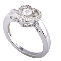 Sterling Silver .10 ct Diamond Heart Ring Size 7.5