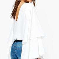 Exaggerated Tiered Sleeve V Back Top | Boohoo