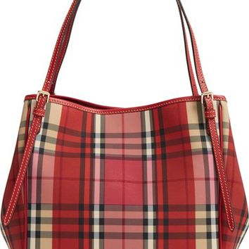 Burberry Small Canter Horseferry Check & Leather Tote   Nordstrom