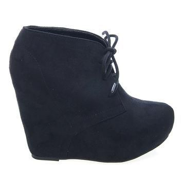Pager Black By Soda, F-Suede Laced Up Close Toe Hidden Platform Wedge Bootie Soda Shoe