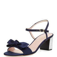 kate spade new york monne too satin bow sandal, navy