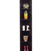 "76.75"" Corner Bookcase Five-Tiered Shelves Home Office Decor Coffee Bean Finish"