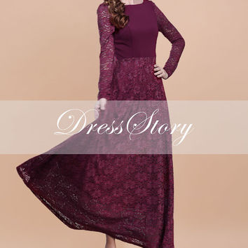 Long Sleeved Red Lace Maxi Dress with Deep Scoop Back - Maroon Maxi Dress Maxi Dress 192
