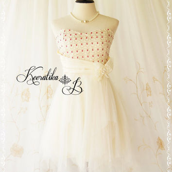 Saying A Love Song - Gorgeous Tutu Cocktail Dress Cream Ivory With Hot Pink Dropping Lace Top Scarf Hem Party Prom Wedding Bridesmaid Dress