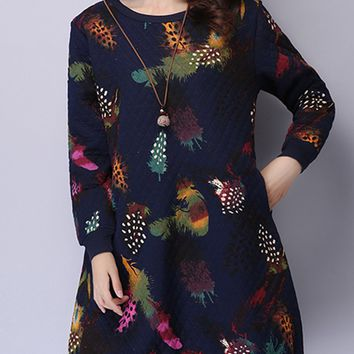 Streetstyle  Casual Round Neck Pocket Quilted Colorful Printed Shift Dress