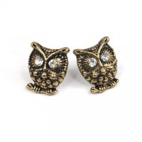 World Pride Vintage Cute Crystal Eye Bronze Owl Stud Earrings Jewelry Retro Diamante