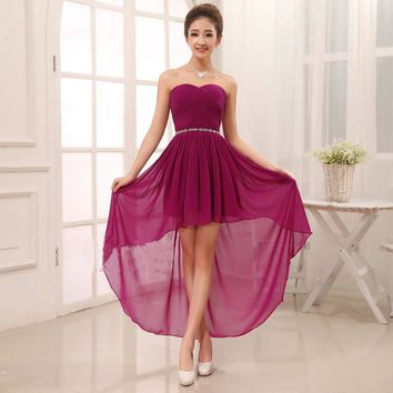 Suosikki Free Shipping 2016 New Fashion Design Front Short Long Back Purple / Yellow / Red / White Wome Long Evening Dress