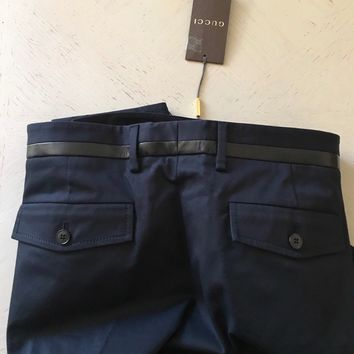 New $850 Gucci Mens Stretch Gabardine-Leather Ink Pants Black 36 US ( 52 Eu )
