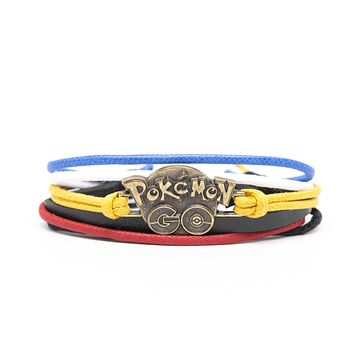 Pokemon Go Rope and Leather Adjustable Unisex Charm Bracelet