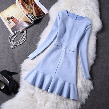 2017 Spring Women Dress Long Sleeve Suede New Spring Elegant Casual bodycon Prom Party Dress Slim vestidos Blue Gray Pink