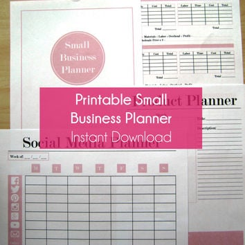 Home Based Business Planner Bundle - Business Planner for Running a Business - Pricing Worksheet - Inventory Worksheet - A4 & 8.5x11 - Pink