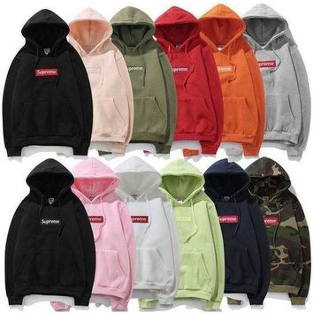 Supreme Unisex Autumn Hoodies Zippers Long Sleeve Jacket