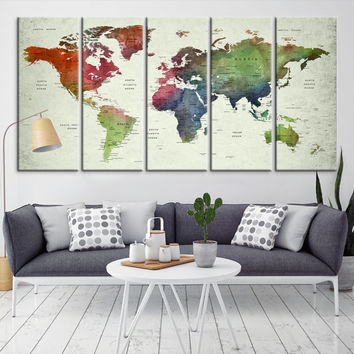 64919 - Large Wall Art World Map Canvas Print- Custom World Map Push Pin Wall Art- Custom World Map Canvas Poster Print- Personalized Wall Art