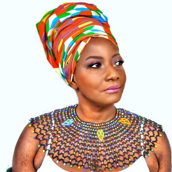 Kente African Print Momo Peach Head Wrap