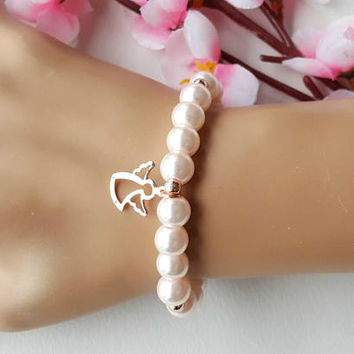 Flower girl gift, angel bracelet, baptism gift, baby gift, rose gold bracelet, wedding gift, childrens bracelet, wedding organization
