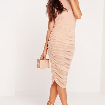 Missguided - Mesh High Neck Ruched Midi Dress Nude