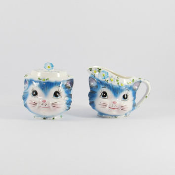 Vintage Lefton Miss Priss Cat Sugar Bowl and Creamer, Blue Pink Kitsch Collectible, Japan, 1508