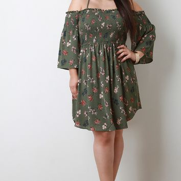 Floral Print Smocked Bell Sleeves Dress