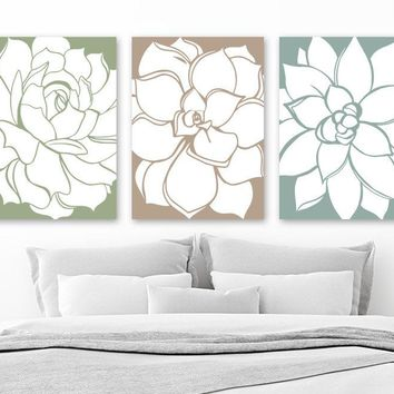 SUCCULENT Flower Wall Art, Flower Bedroom Pictures, CANVAS or Print Green Blue Tan FLOWER Bathroom Decor, Floral Dahlias Pictures Set of 3