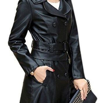 Women's Winter Faux Leather Long Lapel Double Breasted Motor Biker Jacket