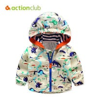 Dapper Baby Boys Jackets Children Hooded Dinosaur Printed Boys Windbreaker