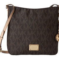 MICHAEL Michael Kors Jet Set Travel Large Messenger Vanilla Leather w/ PVC Logo - Zappos.com Free Shipping BOTH Ways